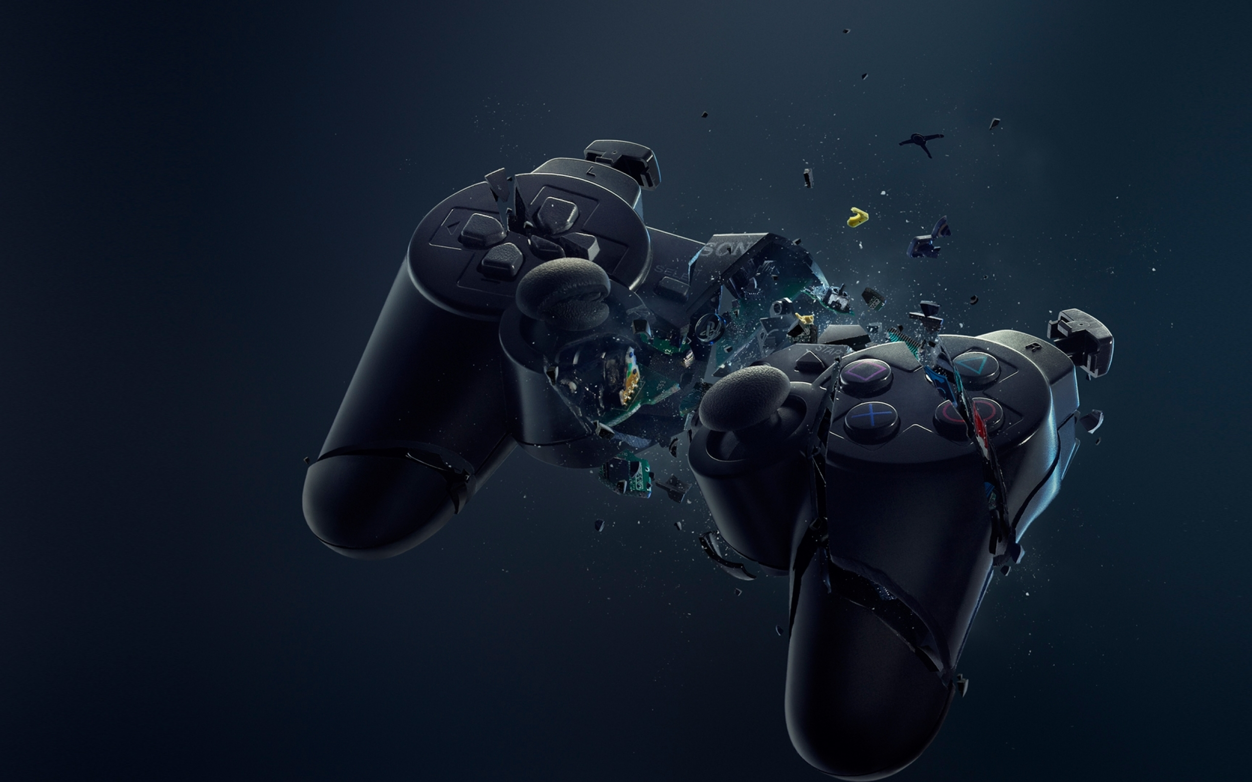 video_games_black_broken_sony_console_crash_playstation_destroyed_crush_dualshock_gamepad_controller_Wallpaper_2560x1600_www.wall321.com_